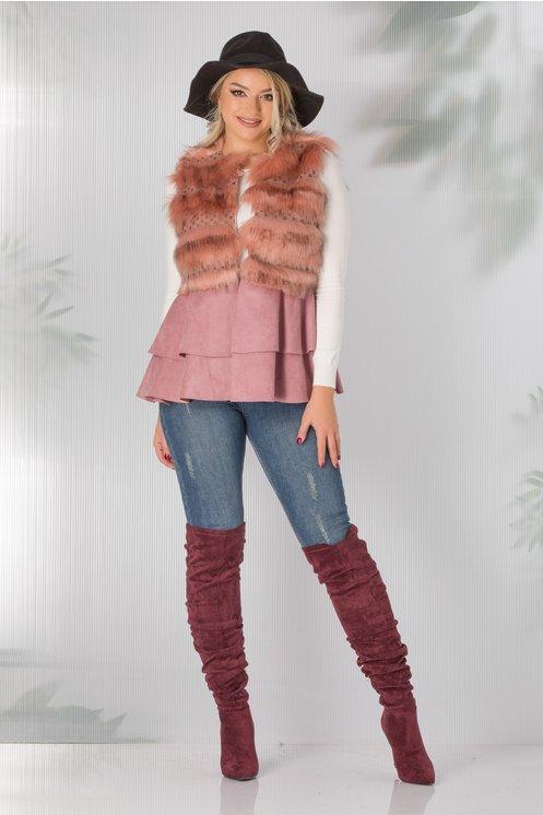 Vesta in combinatie de blana si tricot