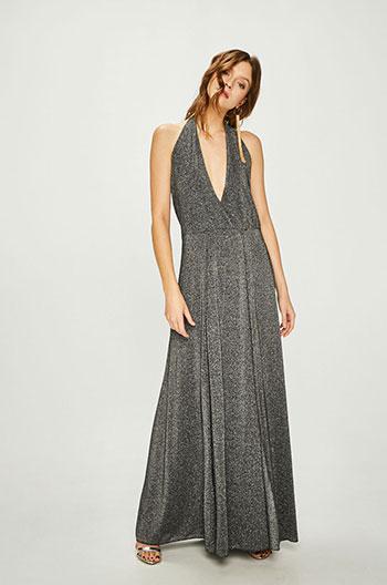 rochie-lunga-argintie-cu-decolteu-in-v