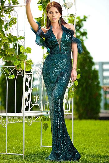 rochie-stralucitoare-turcoaz-model-sirena