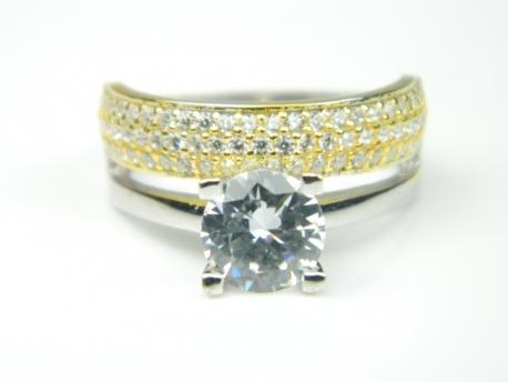 inel de logodna din aur alb si galben