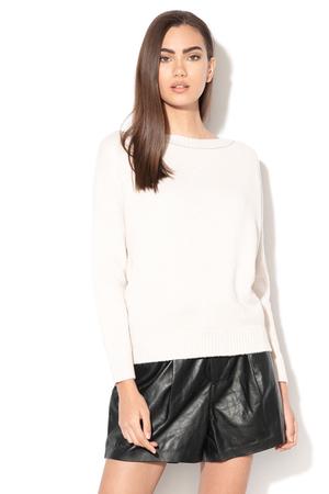 pulover alb din casmir si lana