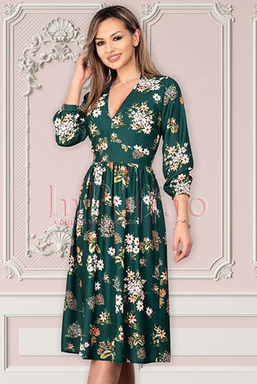 rochie-midi-verde-inflorat