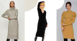 Sezon rece cu rochie pulover tricotata - Trenduri