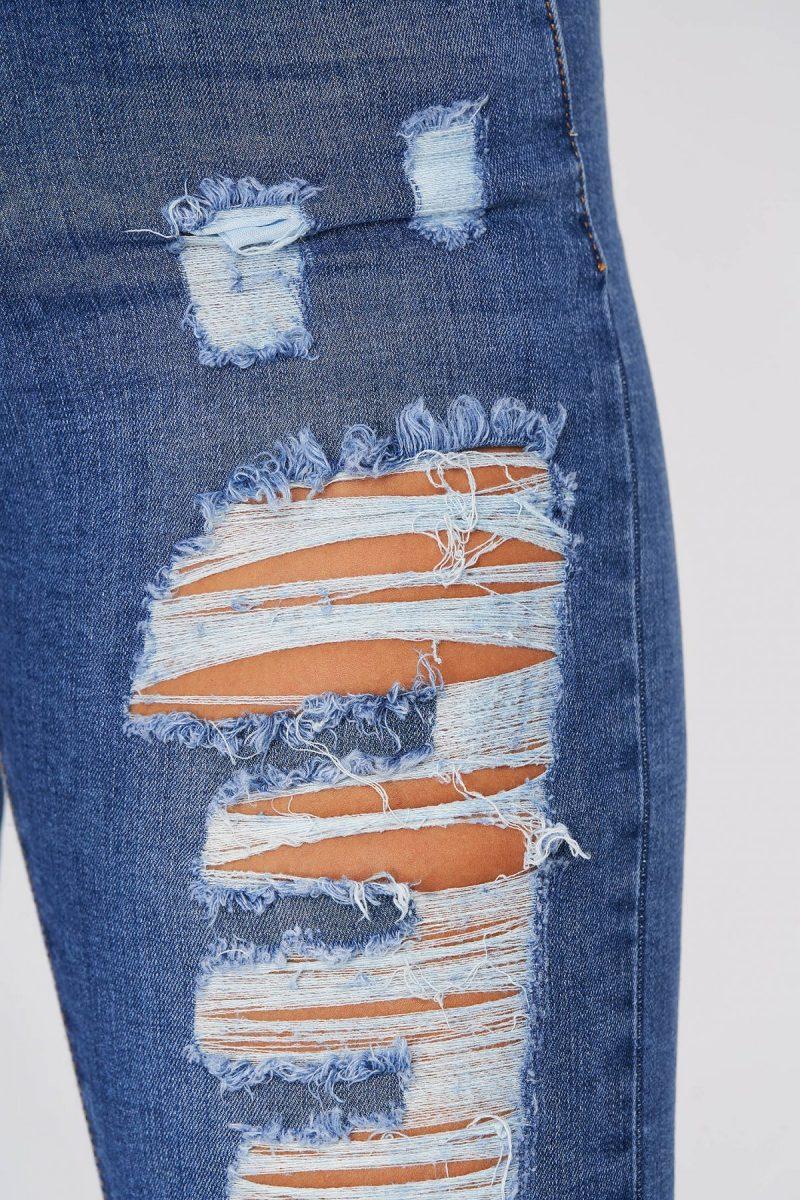 Blugi albastri casual skinny cu talie inalta din bumbac elastic -