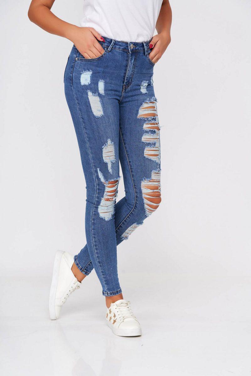 Blugi  albastri casual skinny cu talie inalta din bumbac elastic