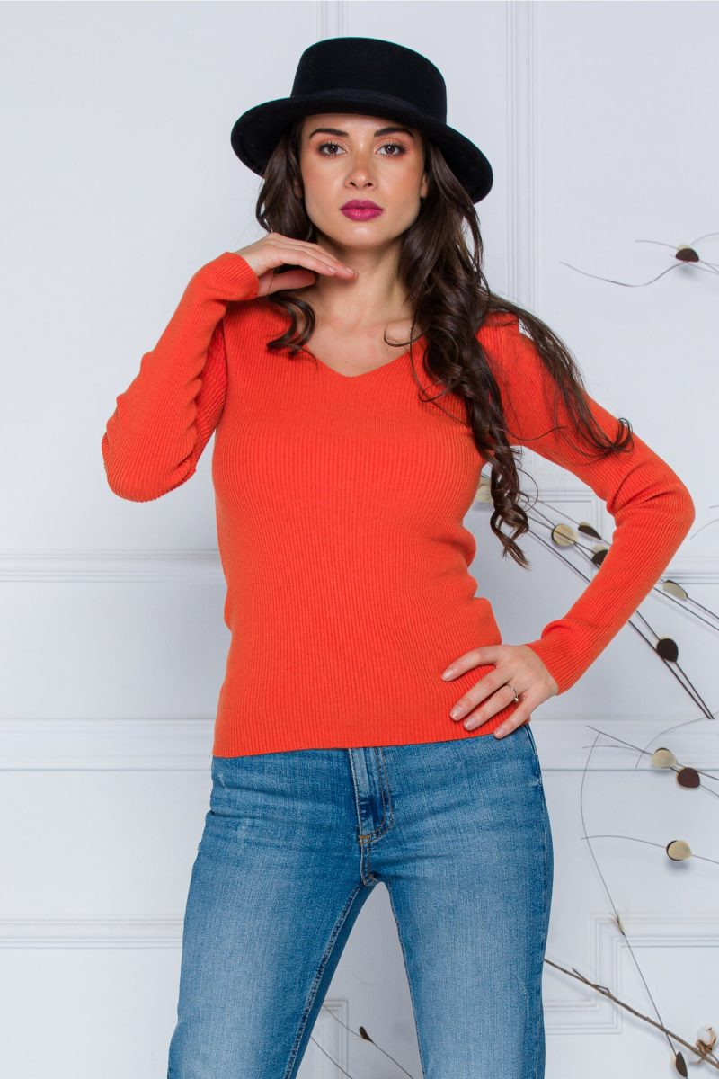 Bluza Dara orange din tricot reiat