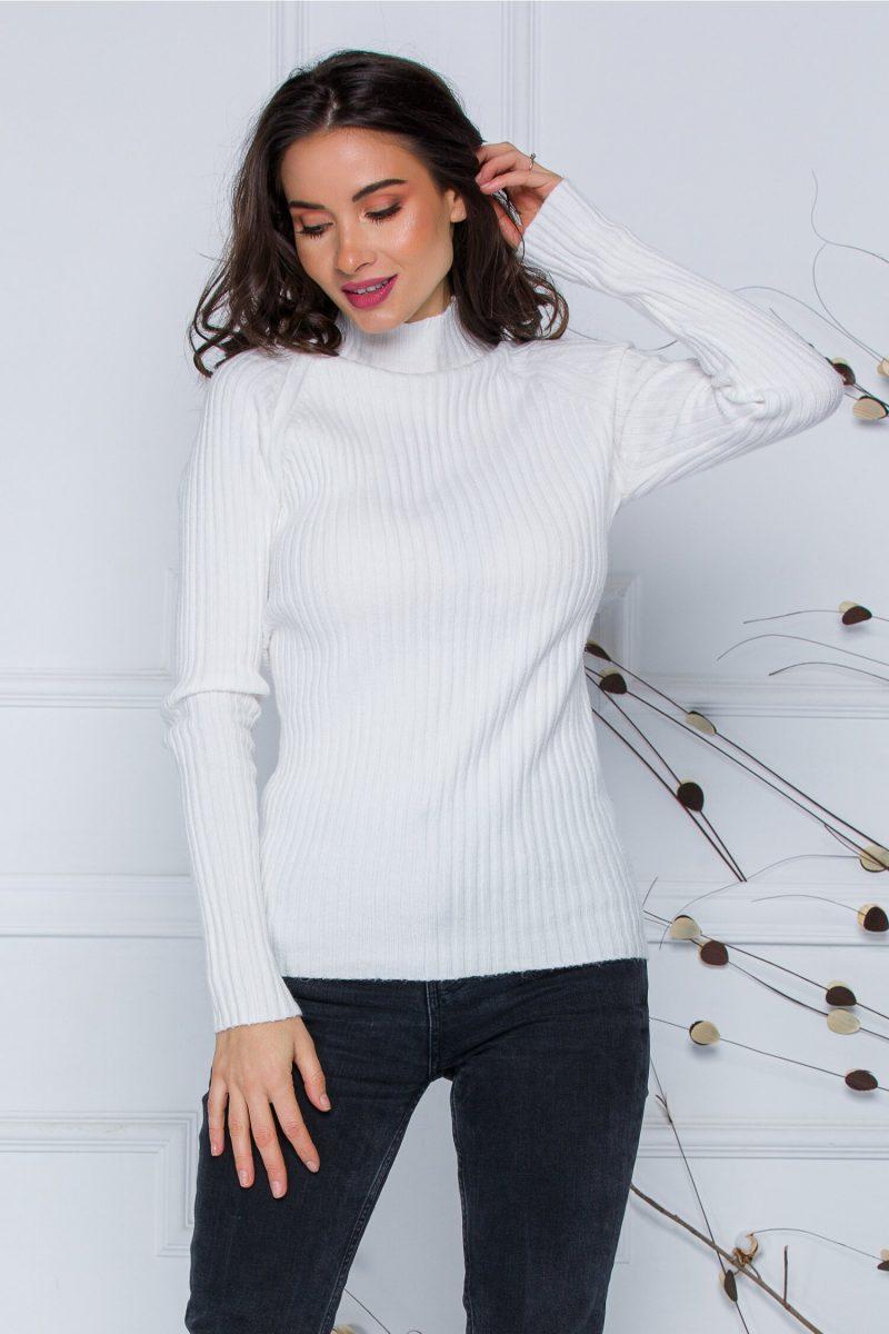 Bluza Daria alba din tricot reiat
