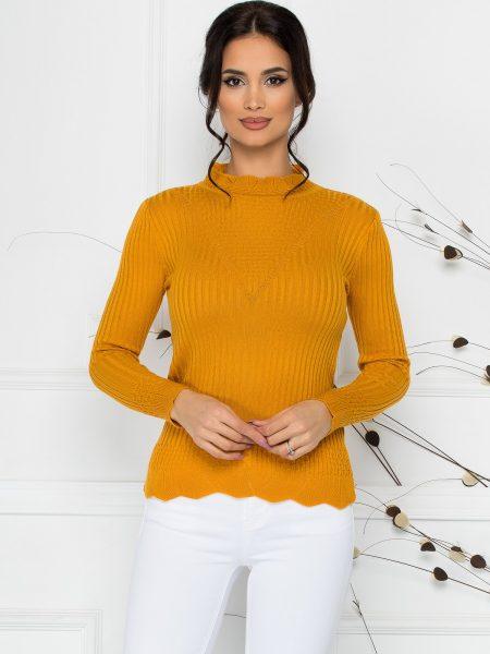 Bluza Felicia galben-mustar cu impletituri la guler