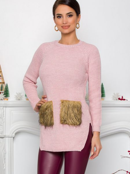 Bluza Lexa roz din tricot cu blanita la buzunare