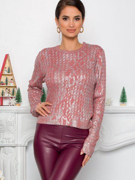 Bluza Yoly roz cu design impletit si imprimeu argintiu