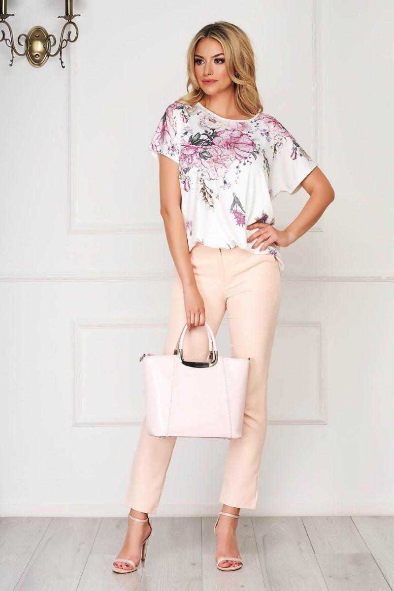 Bluza dama alba eleganta cu croi larg din material subtire cu imprimeuri florale -