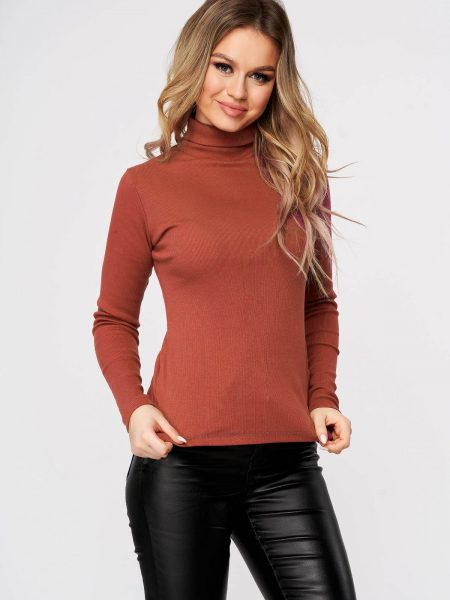 Bluza dama  caramizie casual din bumbac usor elastic din material reiat se muleaza pe corp pe gat