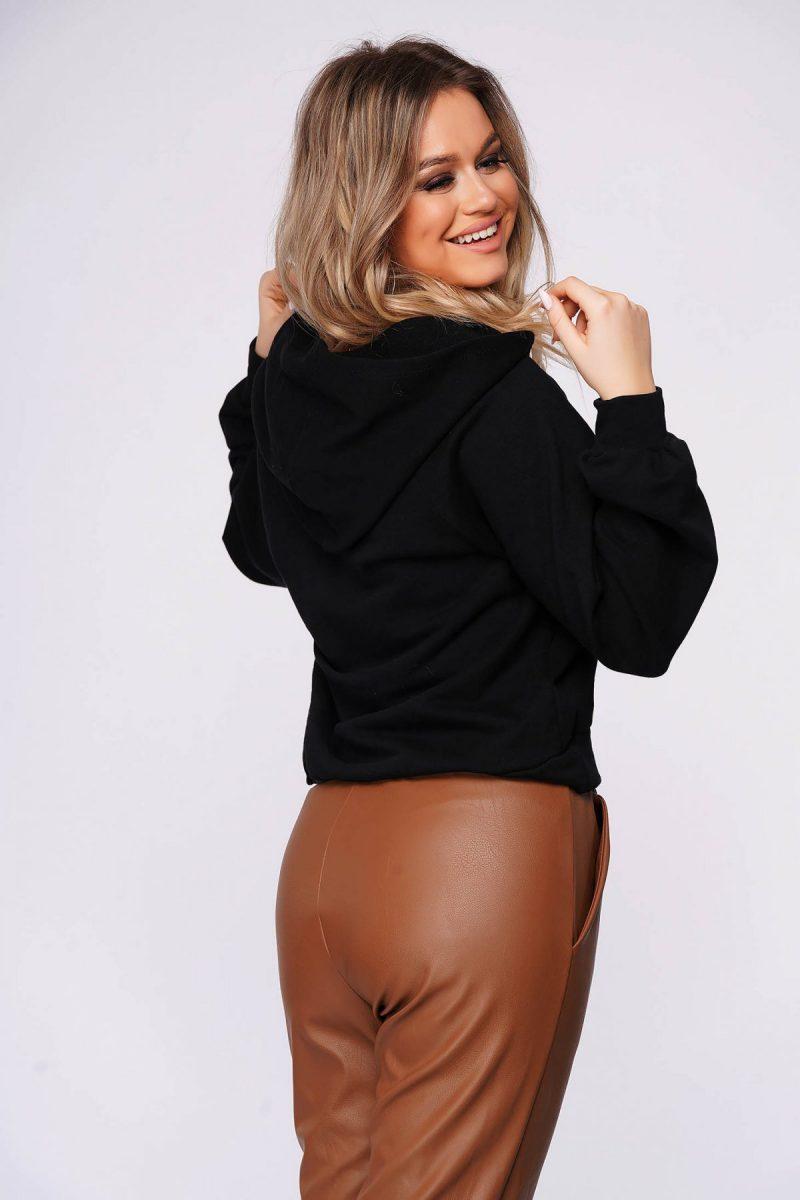 Bluza dama din bumbac usor elastic neagra casual scurta cu croi larg -
