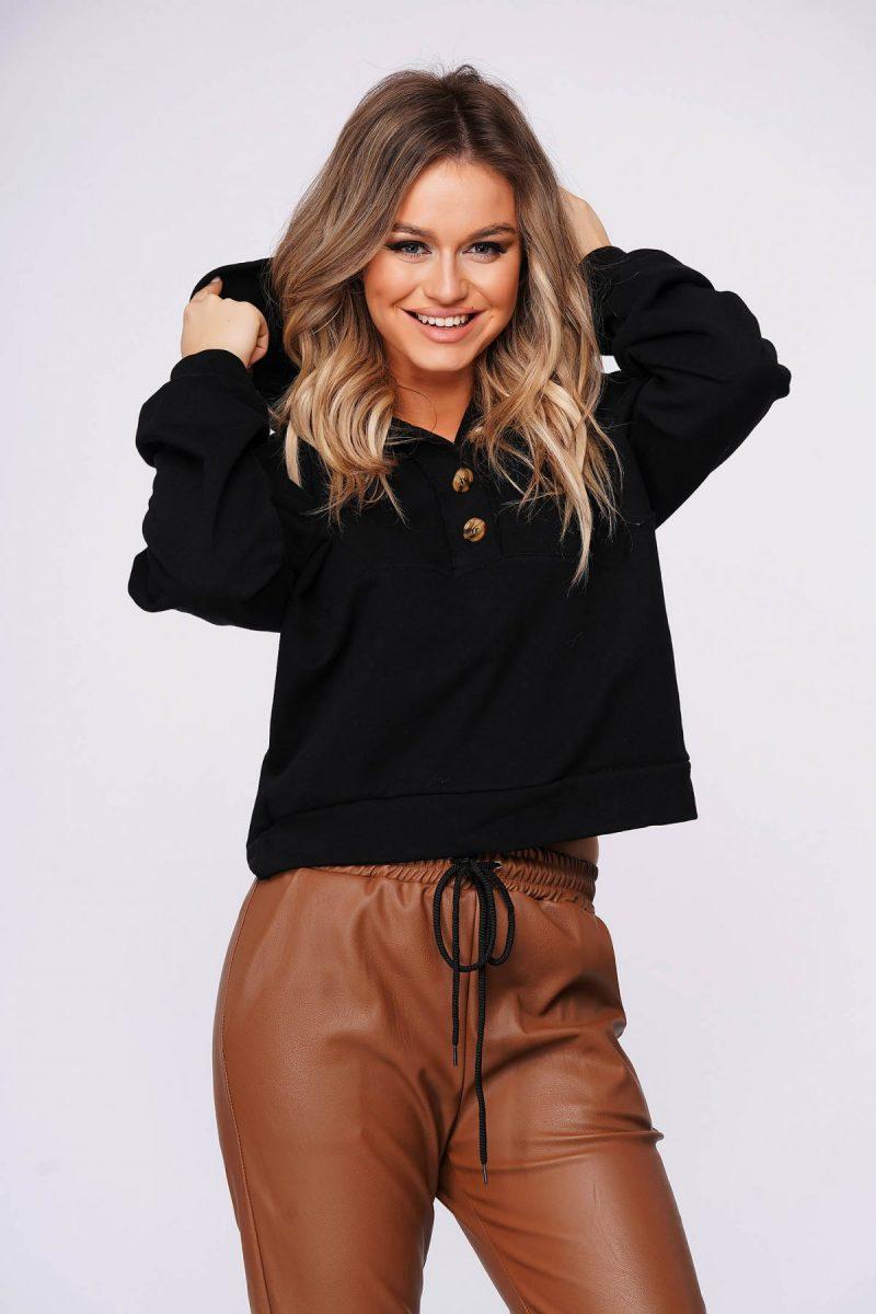 Bluza dama  din bumbac usor elastic neagra casual scurta cu croi larg