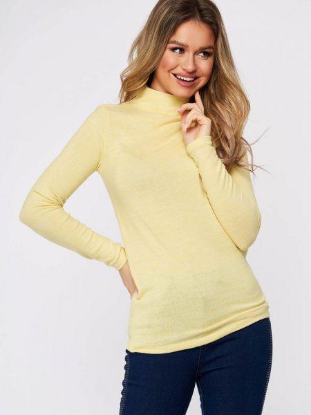 Bluza dama  galbena din bumbac pe gat din material elastic si fin la atingere