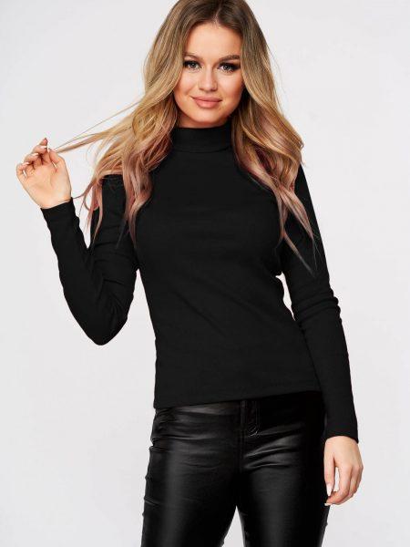 Bluza dama  neagra casual din bumbac usor elastic din material reiat se muleaza pe corp pe gat
