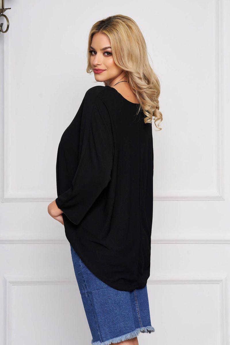 Bluza dama neagra casual scurta asimetrica cu croi larg -