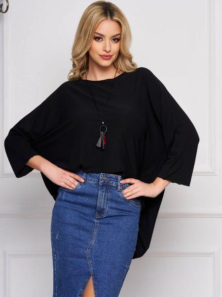 Bluza dama  neagra casual scurta asimetrica cu croi larg