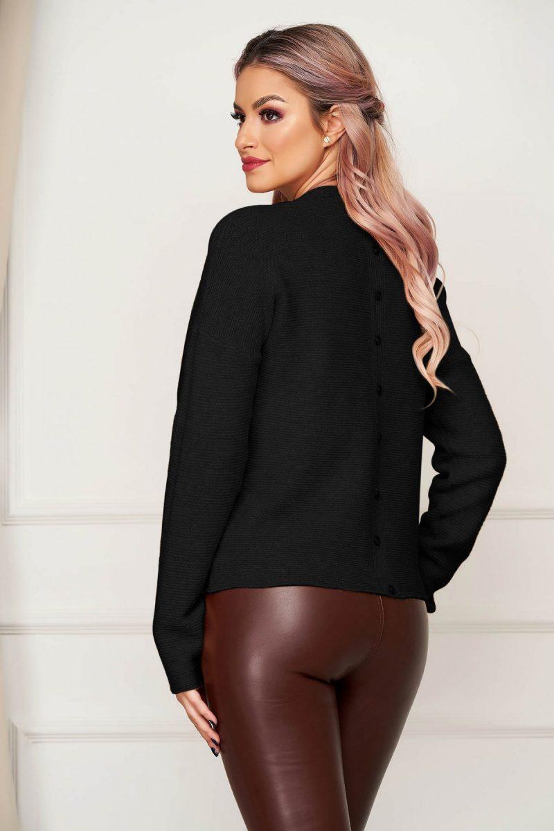 Bluza dama neagra casual tricotata cu croi larg si guler barcuta -