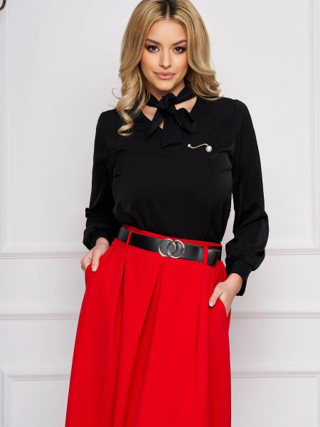 Bluza dama  neagra office scurta din voal cu croi larg si guler tip esarfa