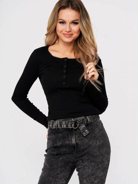 Bluza dama  negru casual din bumbac reiat usor elastic cu un croi mulat si cu nasturi