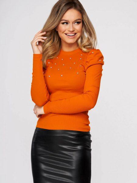 Bluza dama  portocalie casual mulata din material reiat cu aplicatii cu pietre strass umeri cu volum