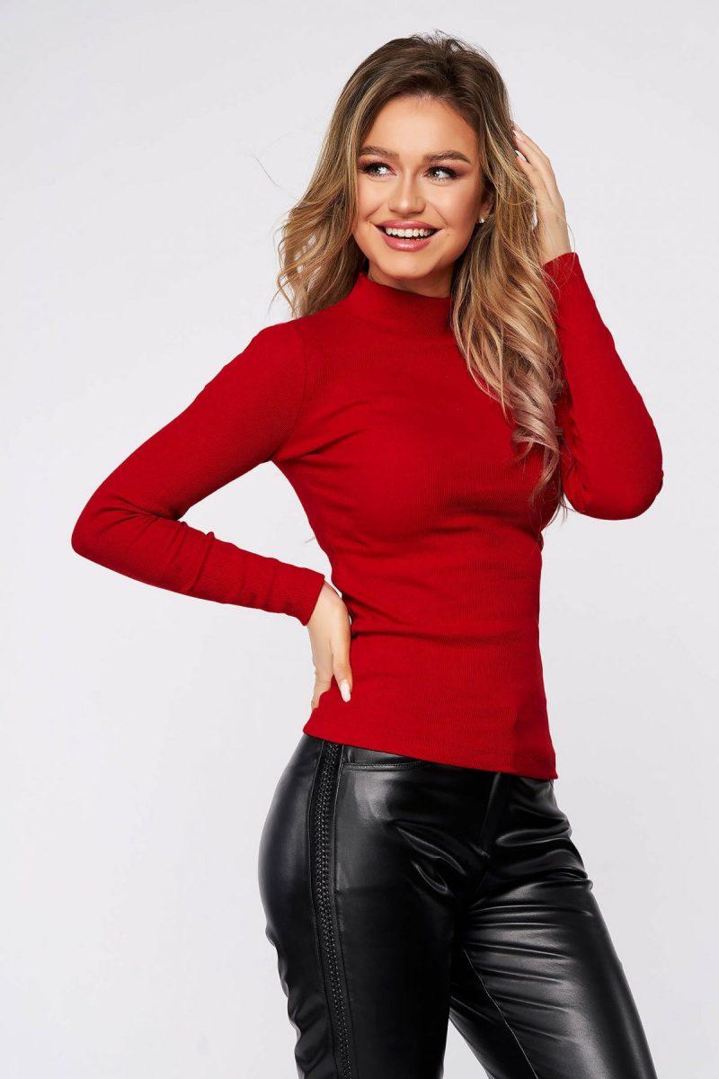Bluza dama  rosie din bumbac reiat elastic mulata pe gat