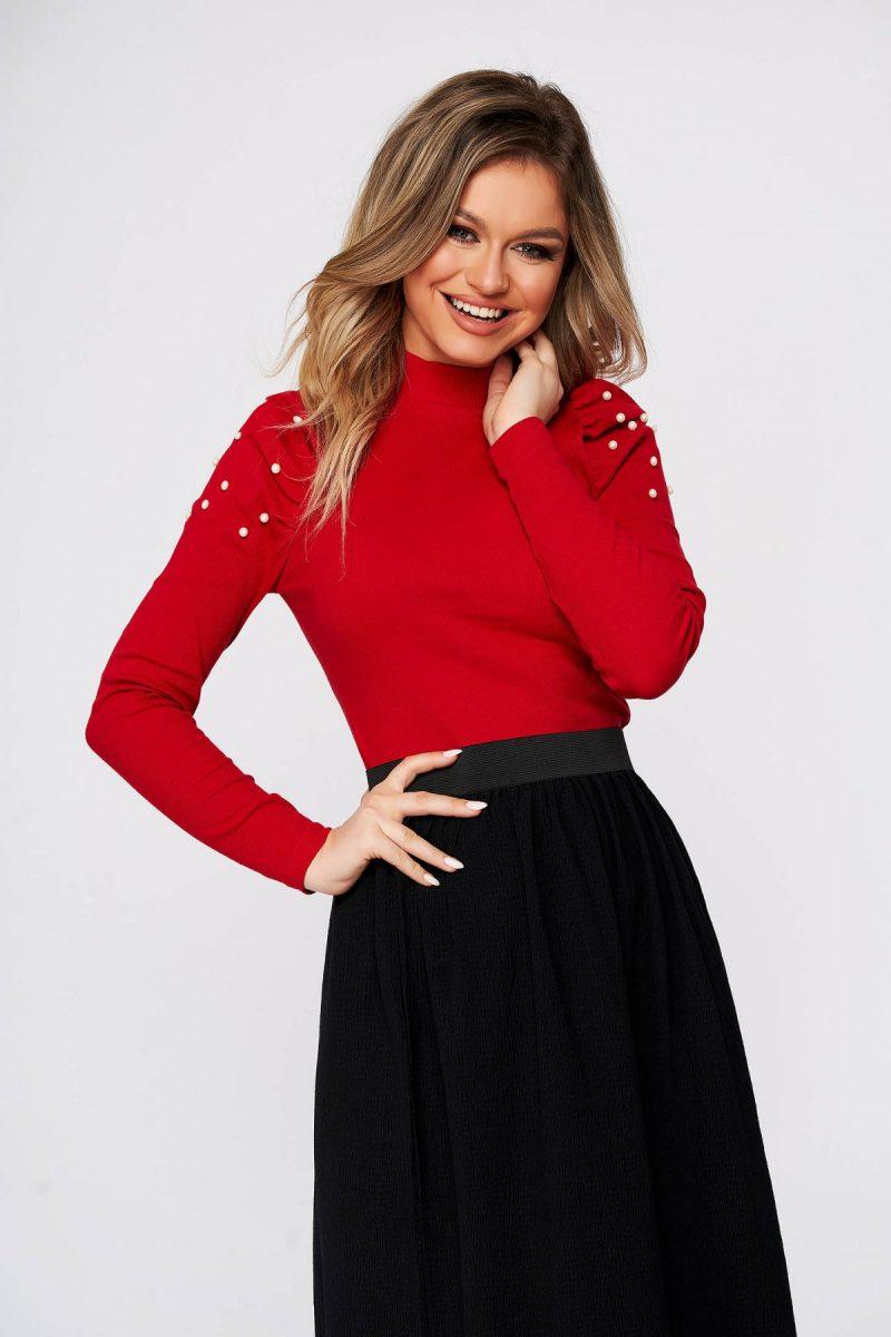 Bluza dama  rosie mulata scurta pe gat din material reiat cu umeri cu volum