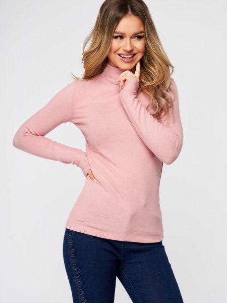 Bluza dama  roz deschis din bumbac pe gat din material elastic si fin la atingere