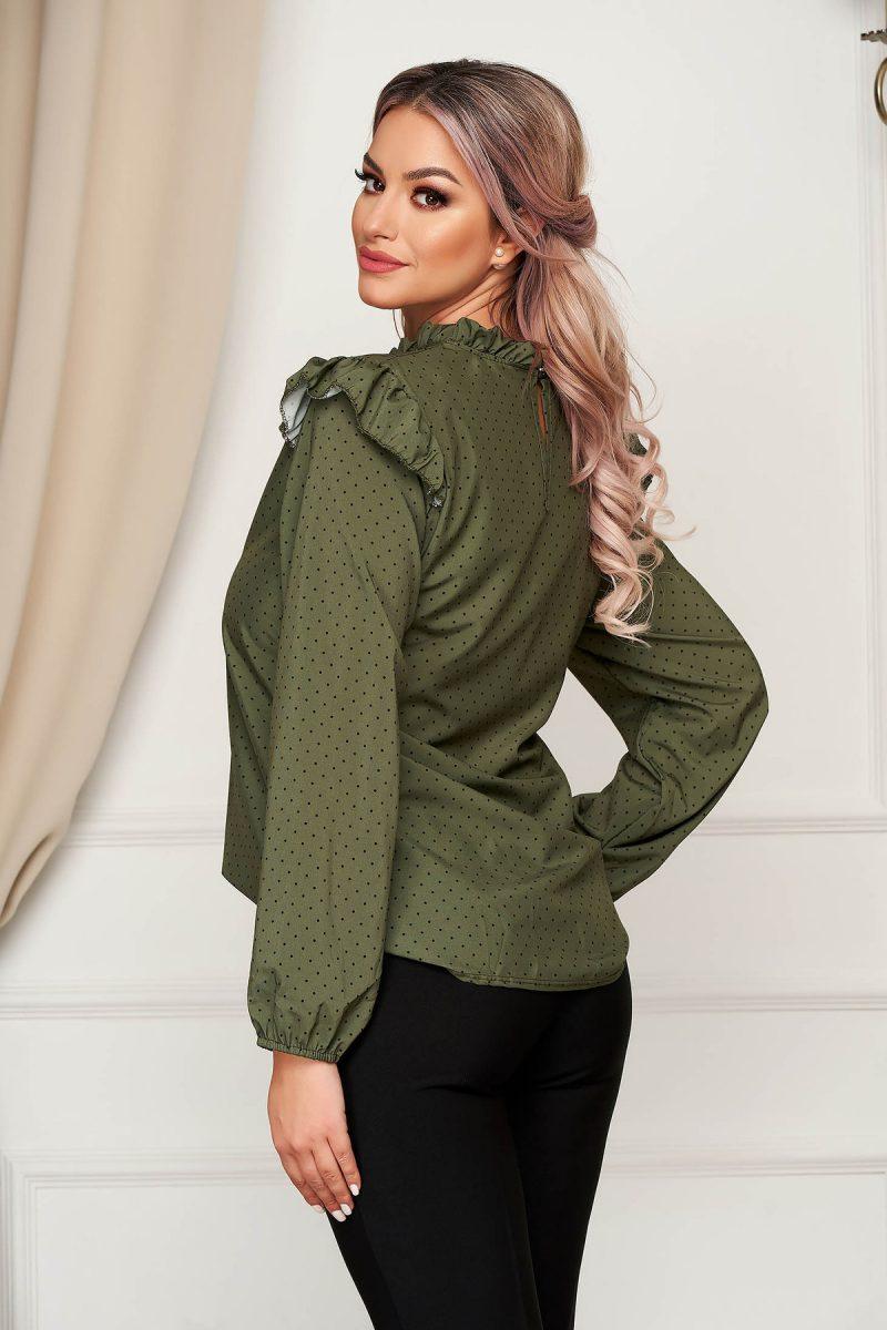 Bluza dama verde-inchis office cu croi larg din material subtire cu volanase si buline -