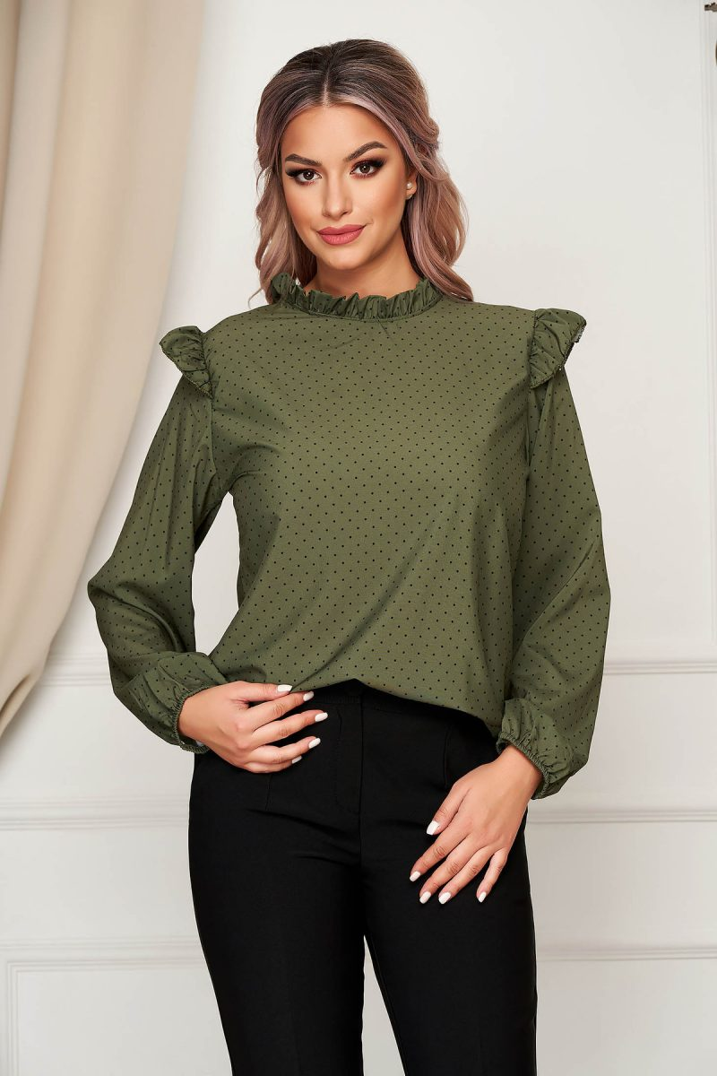 Bluza dama  verde-inchis office cu croi larg din material subtire cu volanase si buline