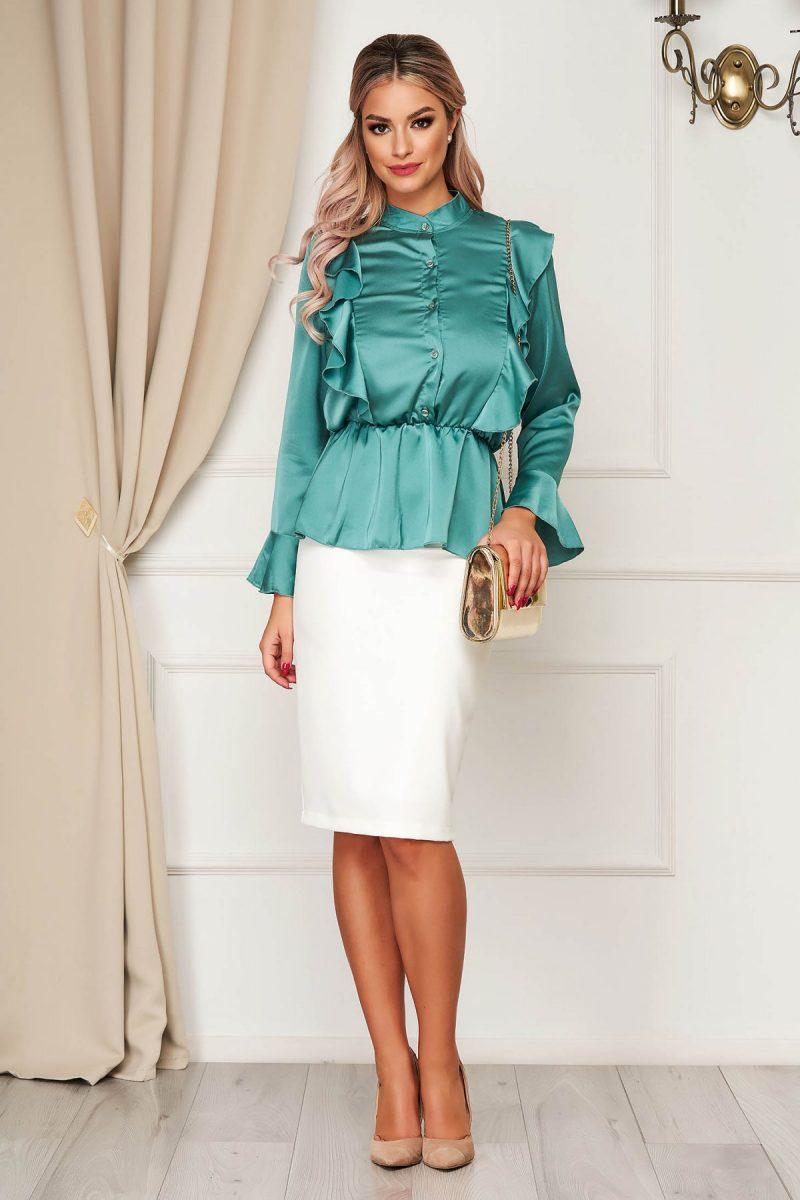 Camasa dama mint eleganta cu croi larg din material satinat cu elastic in talie cu volanase -