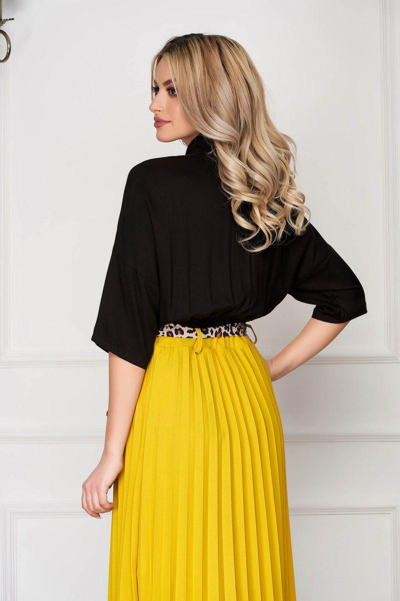 Camasa dama neagra casual cu elastic in talie cu maneci trei-sferturi si guler -