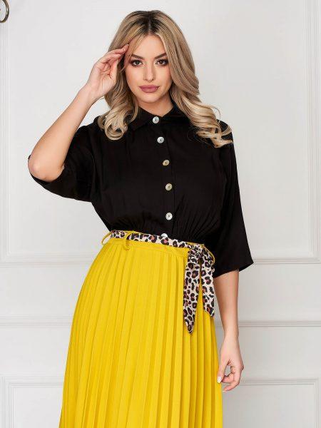 Camasa dama  neagra casual cu elastic in talie cu maneci trei-sferturi si guler