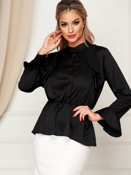 Camasa dama  neagra eleganta cu croi larg din material satinat cu elastic in talie cu volanase