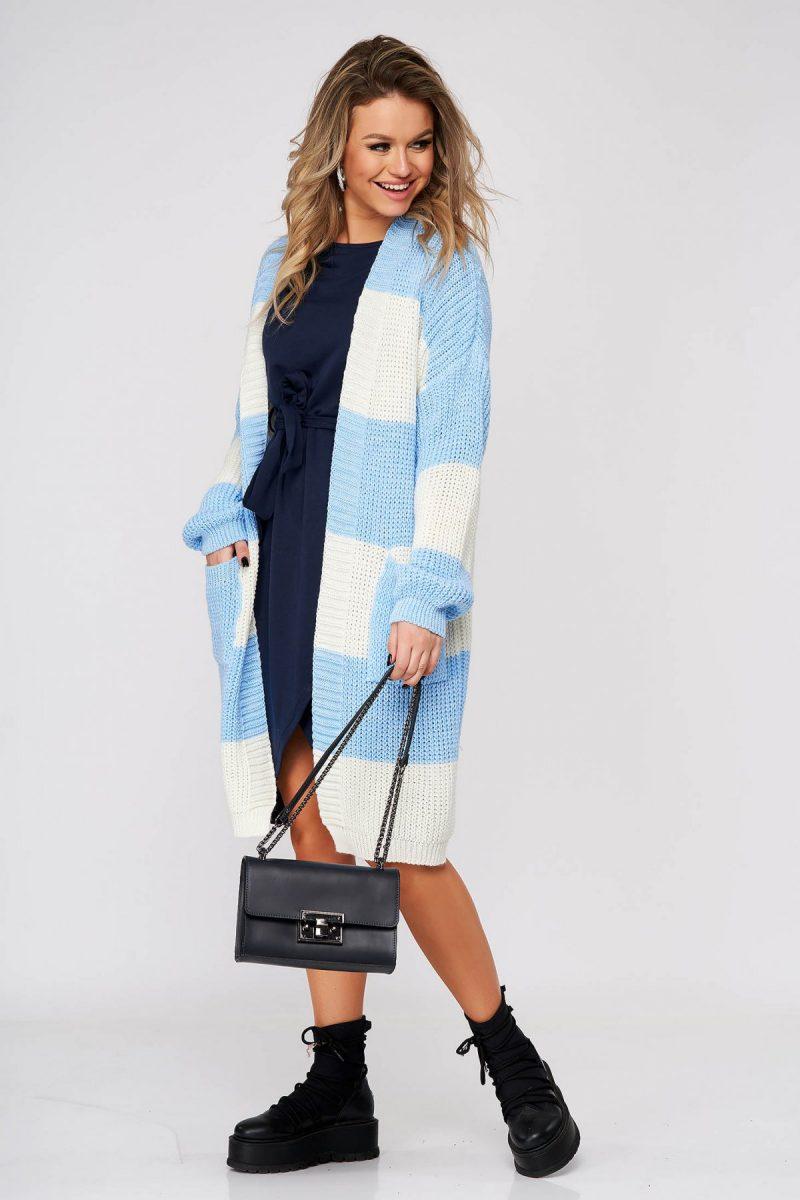 Cardigan albastru-deschis casual lunga cu croi larg din material tricotat -