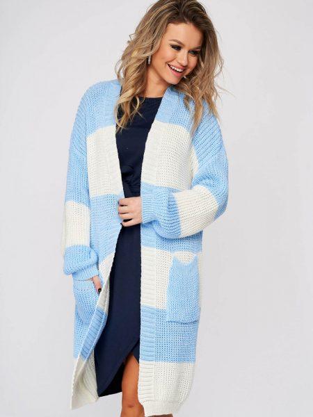 Cardigan  albastru-deschis casual lunga cu croi larg din material tricotat