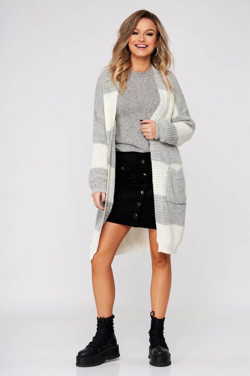 Cardigan gri casual lunga cu croi larg din material tricotat -