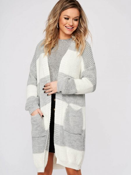 Cardigan  gri casual lunga cu croi larg din material tricotat