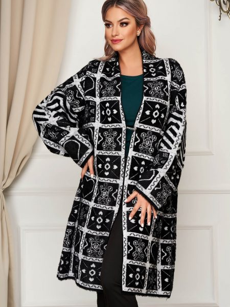 Cardigan  negru elegant lung din lana si angora cu croi larg