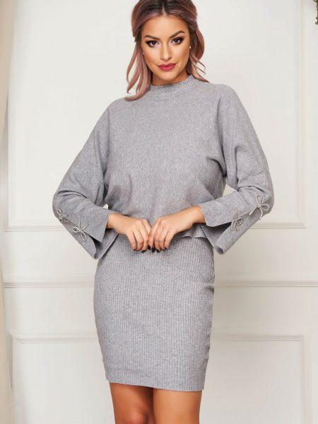 Compleu  gri casual tricotat din 2 piese cu rochie