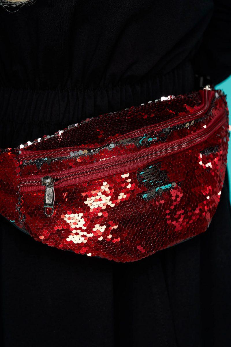 Geanta dama rosie cu aplicatii cu paiete accesorizata cu fermoar cu maner lung reglabil -