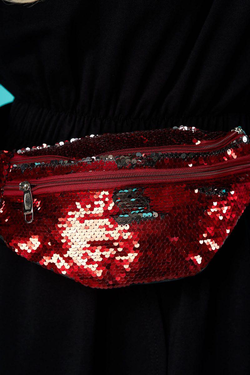 Geanta dama  rosie cu aplicatii cu paiete accesorizata cu fermoar cu maner lung reglabil