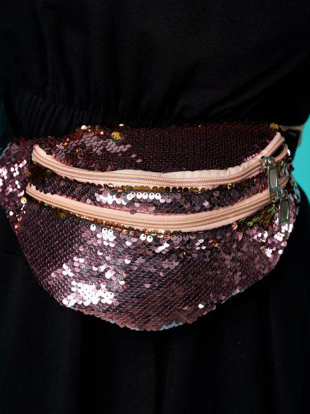 Geanta dama  roz cu aplicatii cu paiete accesorizata cu fermoar cu maner lung reglabil