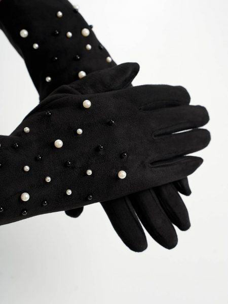 Manusi dama  negre din material catifelat cu aplicatii cu perle