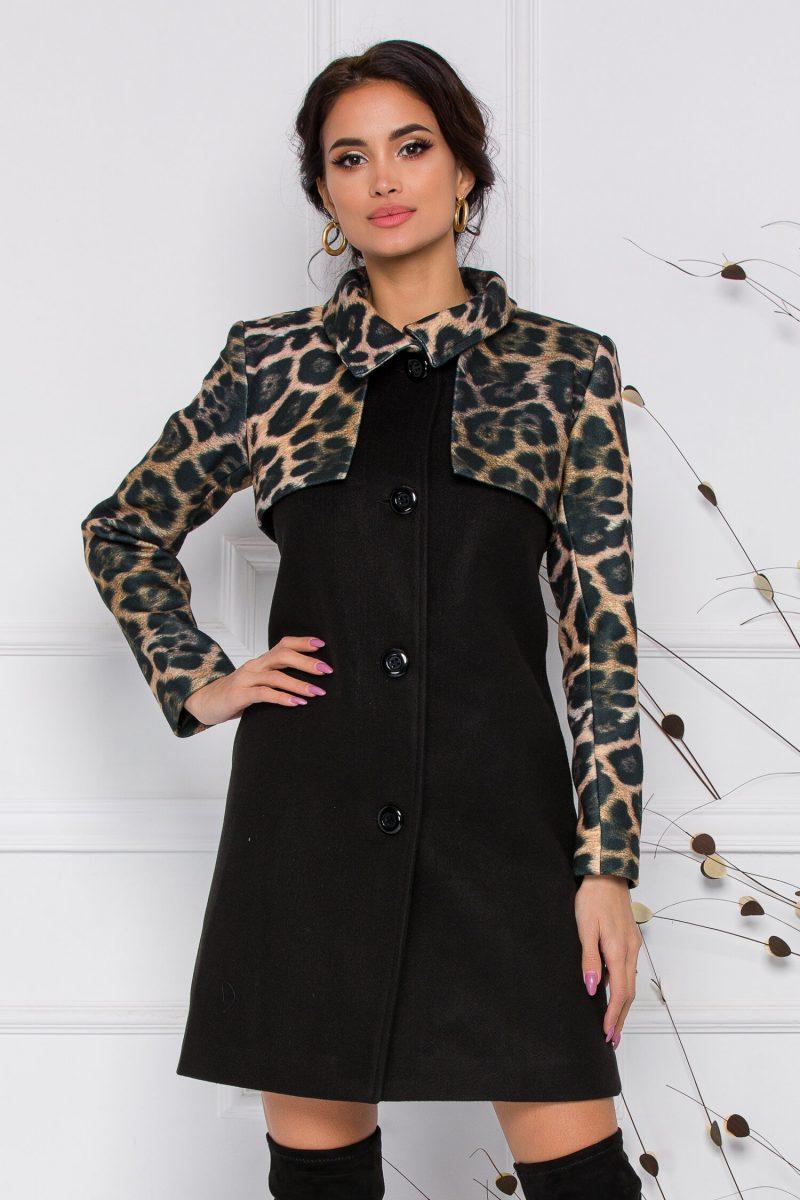 Palton Dora Moze negru cu animal print pe maneci si bust