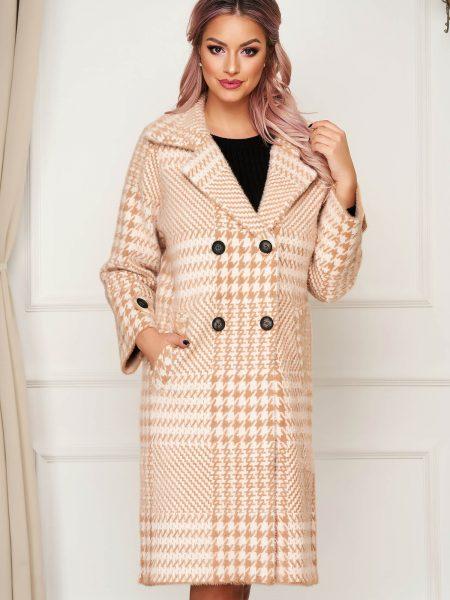 Palton  cappuccino elegant din lana cu croi larg in carouri