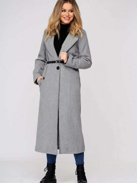 Palton  din stofa gri lung cu un croi drept cu buzunare cu accesoriu tip curea