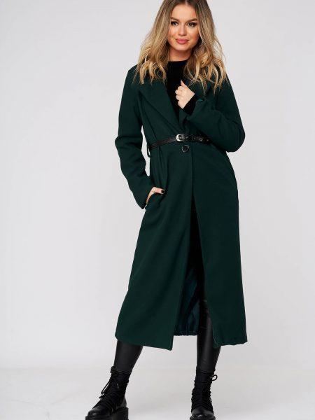 Palton  din stofa verde lung cu un croi drept cu buzunare cu accesoriu tip curea