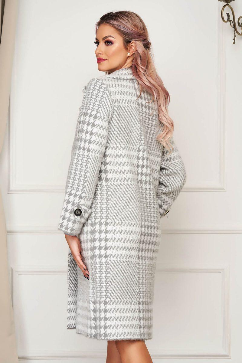 Palton gri elegant din lana cu croi larg in carouri -